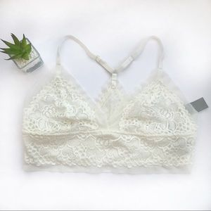 aerie | white lace mesh bralette new with tags L